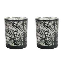 ProCook Etched Silver Tealight Holder Set of 2 - Tree Large