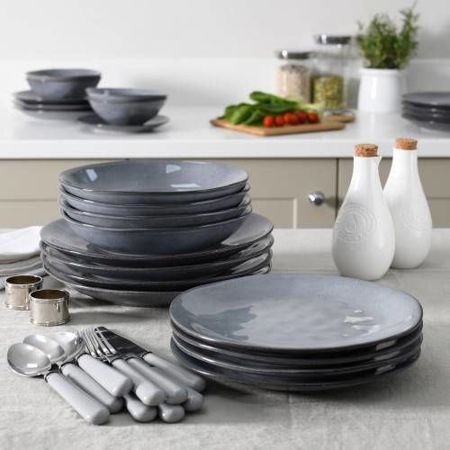 Malmo Charcoal Dinner Set with Pasta Bowls 12 Piece - 4 Settings