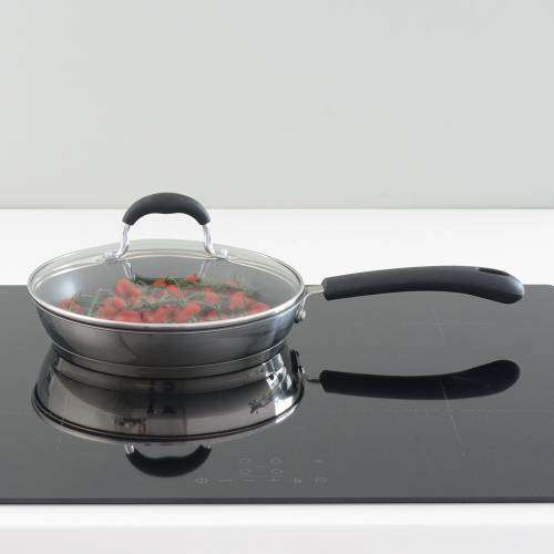 Gourmet Stainless Steel Frying Pan with Lid 24cm
