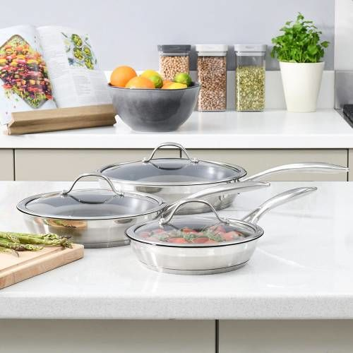 Professional Stainless Steel Frying Pan with Lid Set 3 Piece