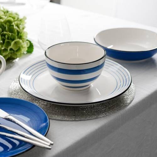 Coastal Stoneware Blue Dinner Set 16 Piece - 4 Settings