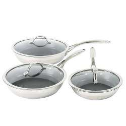 ProCook Professional Steel Frying Pan with Lid Set - 3 Piece