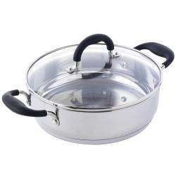 Gourmet Stainless Steel Shallow Casserole & Lid - 24cm / 3.2L