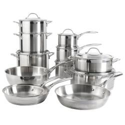 Professional Stainless Steel Cookware Set - Uncoated 12 Piece
