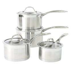 ProCook Professional Steel Saucepan Set - 4 Piece with Free Utensils