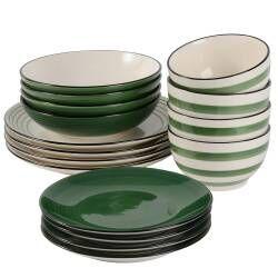Coastal Stoneware Green Dinner Set - 16 Piece - 4 Settings