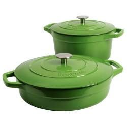 ProCook Cast Iron Casserole Set - 2 Piece Graduated Green