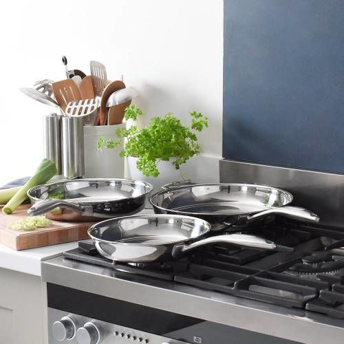 Elite Tri-Ply Frying Pan Set Uncoated 3 Piece