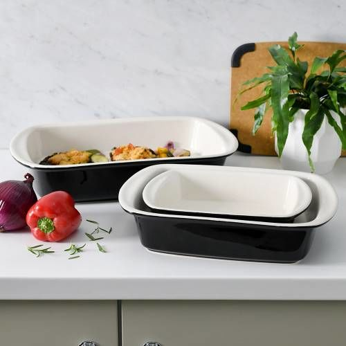 ProCook Stoneware Oven Dishes Set 3 Piece Black