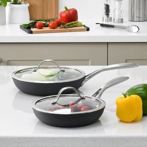 Professional Anodised Frying Pan with Lid Set 20cm and 24cm