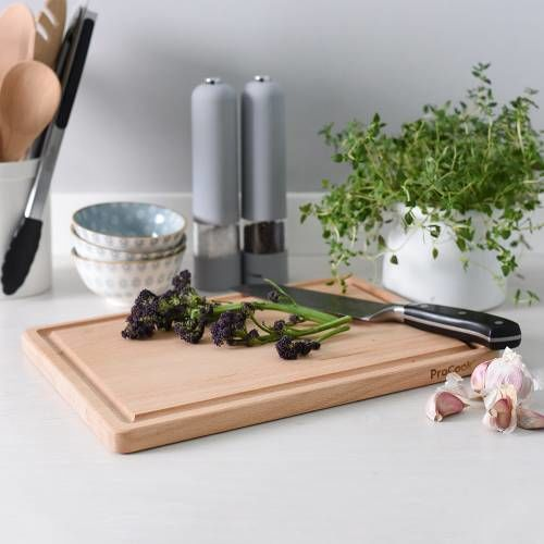 ProCook Wooden Chopping Board with Groove 35 x 25cm