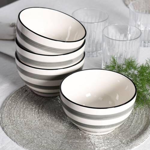 Coastal Stoneware Grey Cereal Bowl Set of 4 - 14cm
