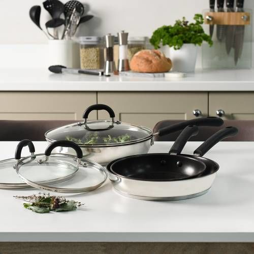 Gourmet Stainless Steel Frying Pan with Lid Set 3 Piece