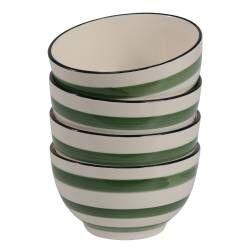 Coastal Stoneware Green Cereal Bowl - Set of 4 - 14cm