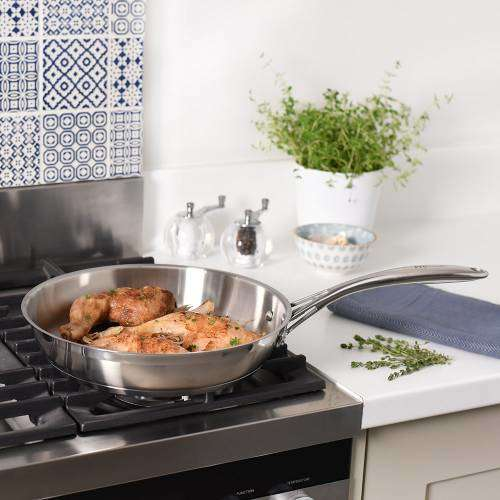 Professional Stainless Steel Frying Pan Uncoated 28cm