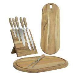 ProCook Acacia 5 Piece Knife Set - with Block and 2 Chopping Boards