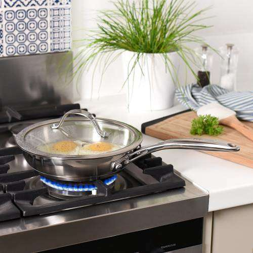 Professional Stainless Steel Frying Pan with Lid Uncoated 20cm