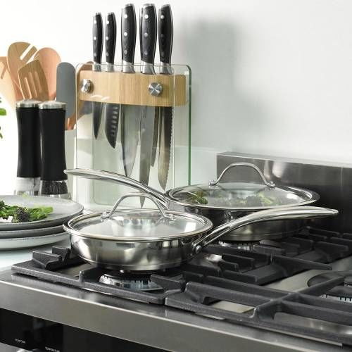 Professional Stainless Steel Frying Pan with Lid Set Uncoated 20cm and 24cm