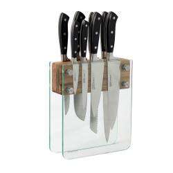 Gourmet X30 Knife Set - 8 Piece and Magnetic Glass Block