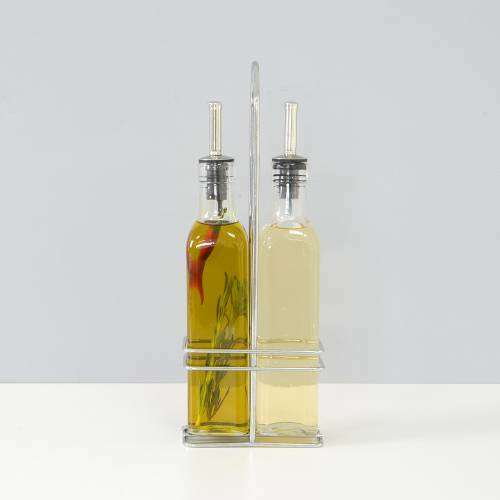 ProCook Oil and Vinegar Pourer Set with Rack Glass 270ml