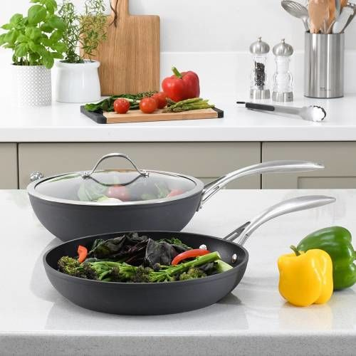 Professional Anodised Wok and Frying Pan Set 2 Piece