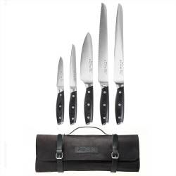 Elite AUS8 Knife Set - 5 Piece and Leather Knife Case