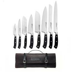 Gourmet X30 Knife Set - 8 Piece and Leather Knife Case