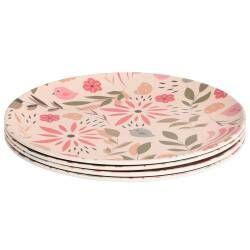 ProCook Bamboo Fibre Flower Design Plates - Set of 4 - 20cm