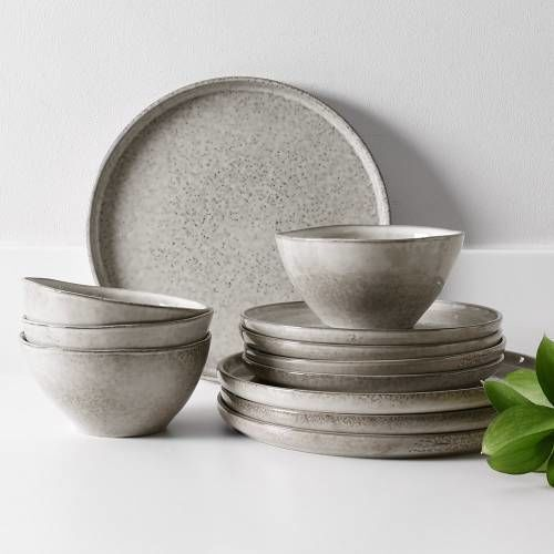 Oslo Rim Stoneware Dinner Set with Cereal Bowls 12 Piece - 4 Settings