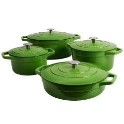 ProCook Cast Iron Casserole Set - 4 Piece Graduated Green