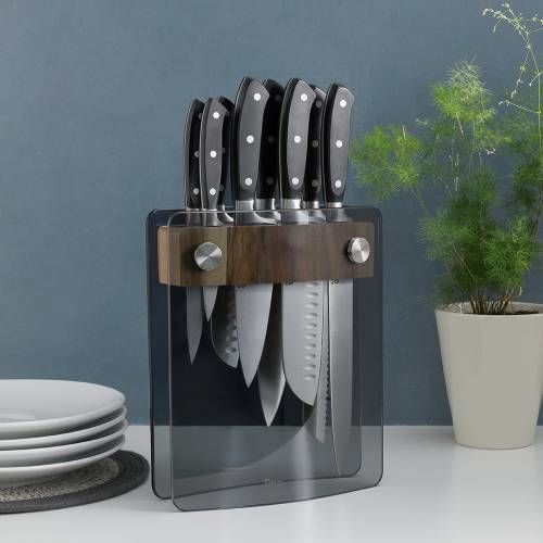 Gourmet X30 Knife Set 8 Piece and Glass Block