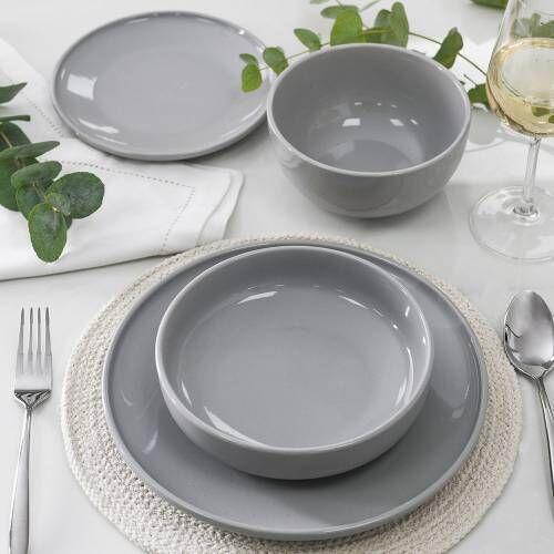 Stockholm Grey Stoneware Dinner Set 16 Piece - 4 Settings