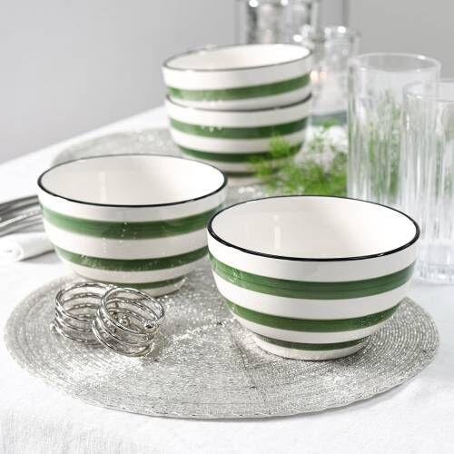 Coastal Stoneware Green Cereal Bowl Set of 4 - 14cm