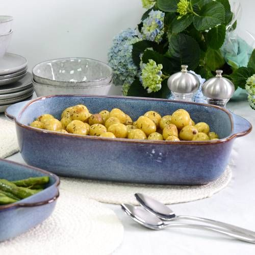 ProCook Stoneware Oven Dish 39.5cm x 24.5cm Reactive Blue