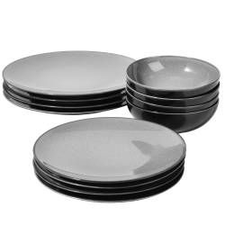 Del Mar Grey Porcelain Dinner Set with Cereal Bowls - 12 Piece - 4 Settings