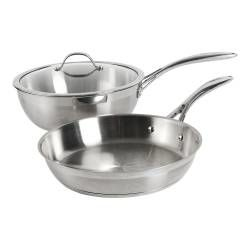 Professional Stainless Steel Sauteuse and Frying Pan Set - Uncoated 2 Piece