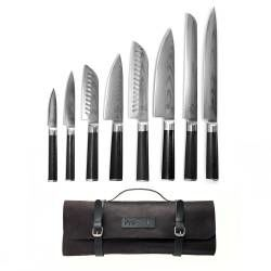 ProCook Damascus X100 Knife Set - 8 Piece and Leather Knife Case
