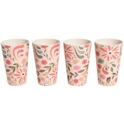 ProCook Bamboo Fibre Flower Design Tumblers - Set of 4 - 450ml
