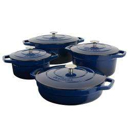 ProCook Cast Iron Casserole Set - 4 Piece Graduated Blue