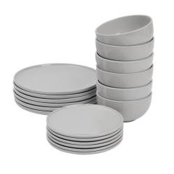 ProCook Stockholm Grey Stoneware Dinner Set - 18 Piece - 6 Settings