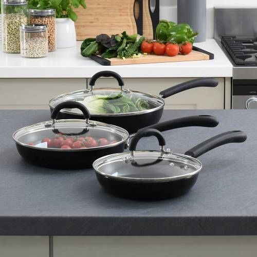 Gourmet Non-stick Frying Pan with Lid Set 3 Piece
