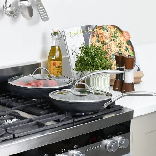 Professional Granite Frying Pan with Lid Set 24cm and 28cm