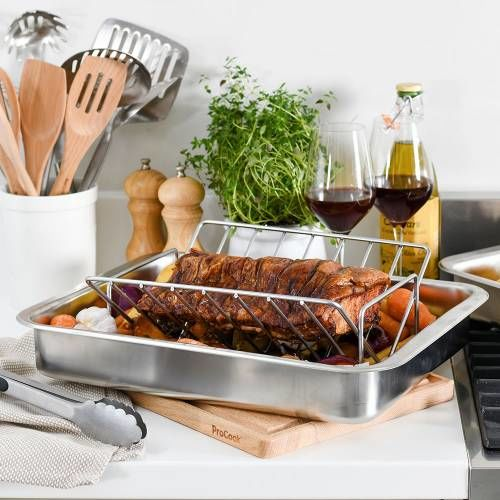 ProCook Stainless Steel Roasting Tin and Rack 32 x 43cm