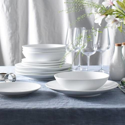 Antibes Porcelain Dinner Set with Pasta Bowls 12 Piece - 4 Settings