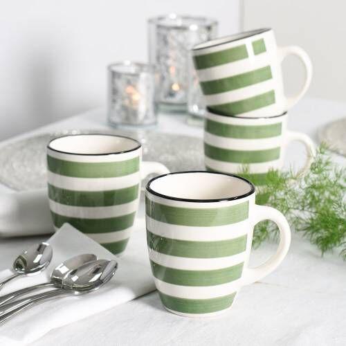 Coastal Stoneware Green Mug Set of 4 - 360ml