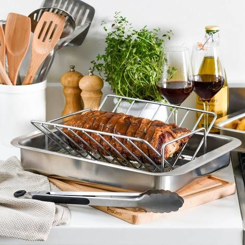 ProCook Stainless Steel Roasting Tin and Rack 28.5 x 41cm