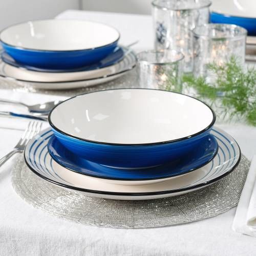 Coastal Stoneware Blue Dinner Set with Pasta Bowls 12 Piece - 4 Settings