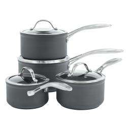 ProCook Professional Anodised Saucepan Set - 4 Piece with Free Utensils