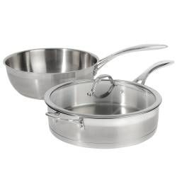 Professional Stainless Steel Sauteuse and Saute Pan Set - 2 Piece Uncoated
