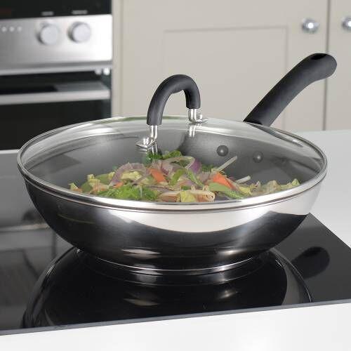 Gourmet Stainless Steel Wok and Saute Pan Set 2 piece